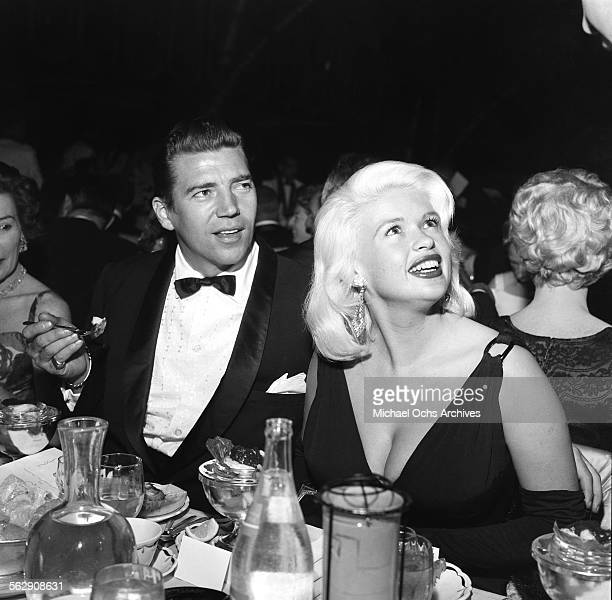 Actress Jayne Mansfield and Mickey Hargitay attend the Golden Globe Awards in Los AngelesCalifornia