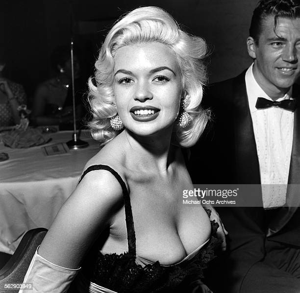 Actress Jayne Mansfield and Mickey Hargitay attend the Makeup Artist Ball in Los Angeles,California.