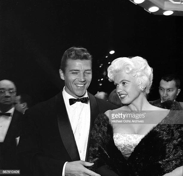 Actress Jayne Mansfield and Mickey Hargitay attend the premiere of Payton Place in Los AngelesCalifornia