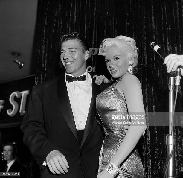 Actress Jayne Mansfield and Mickey Hargitay attend the premiere of Sprit of St Louis in Los AngelesCalifornia