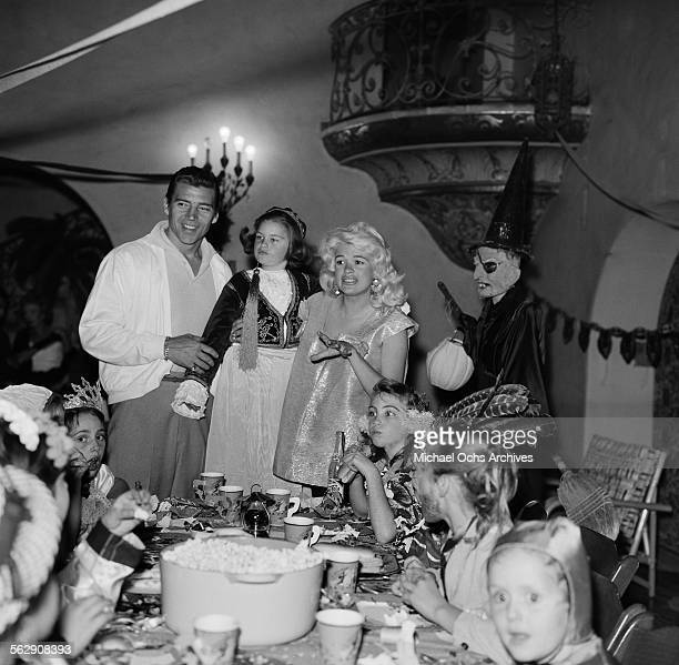 Actress Jayne Mansfield and Mickey Hargitay have a Halloween and Birthday party for daughter Jayne Marie Mansfield in Los AngelesCalifornia