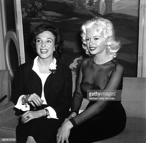 Actress Jayne Mansfield attend a party in Los AngelesCalifornia