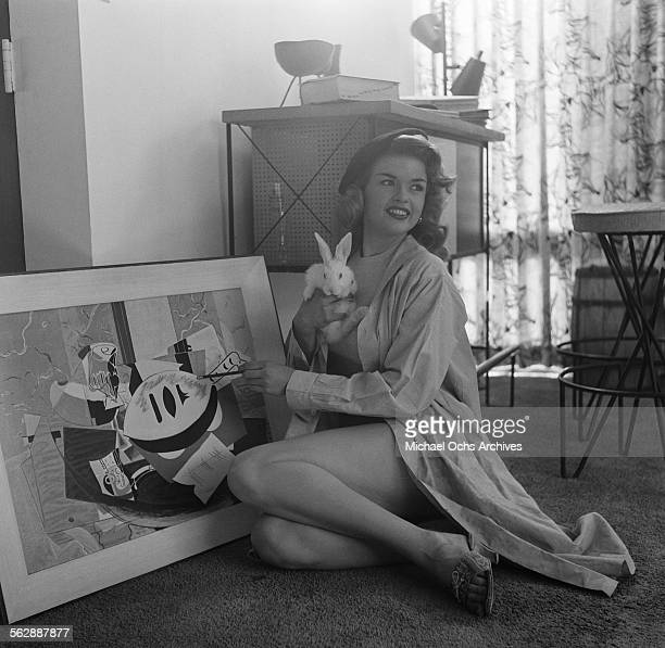 Actress Jayne Mansfield poses at home in Los AngelesCalifornia