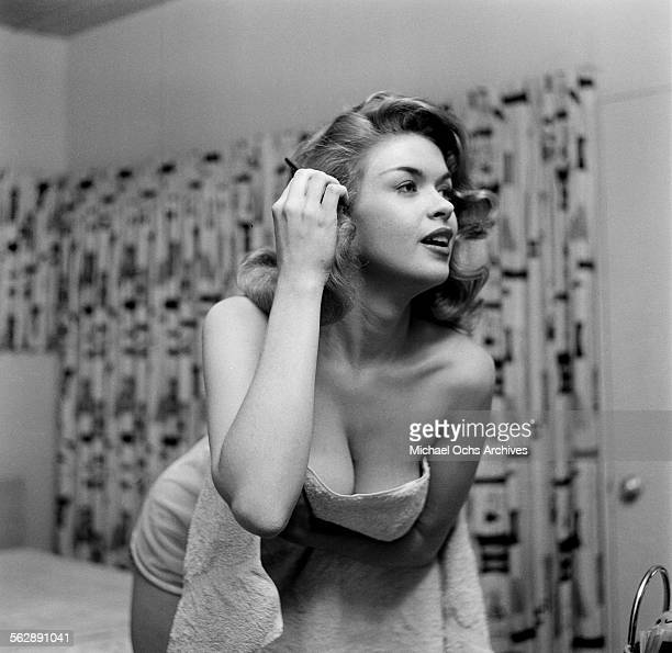 Actress Jayne Mansfield poses at home in Los Angeles,California.