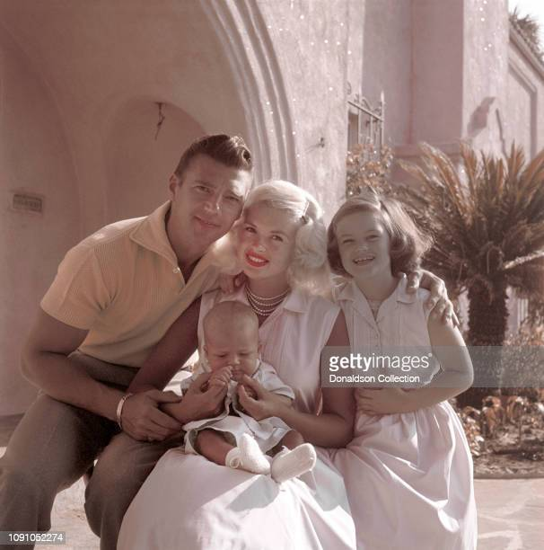 Actress Jayne Mansfield poses for a photo with husband Mickey Hargitay daughter Jayne Marie Mansfield and son Miklos Hargitay in 1959 in Los Angeles...