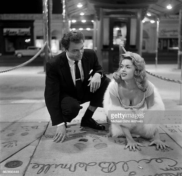 Actress Jayne Mansfield poses out on the town at Grauman's Chinese Theatre in Los AngelesCalifornia