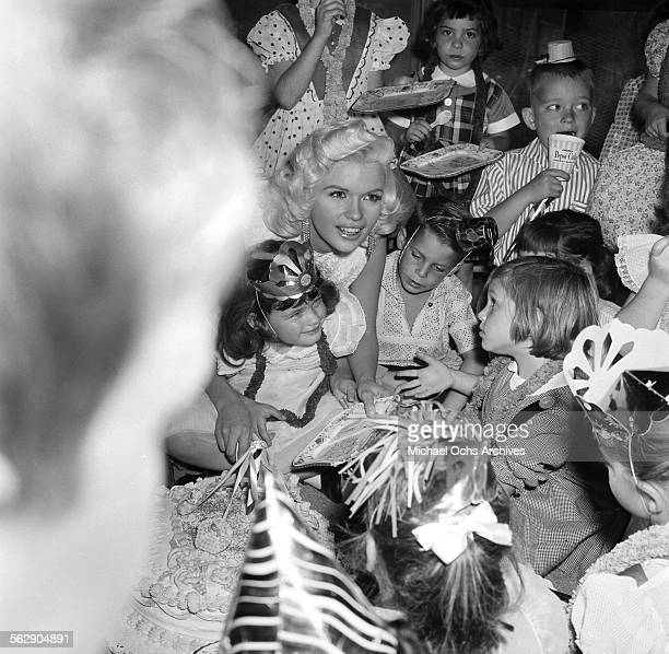 Actress Jayne Mansfield throws a birthday party for her daughter Jayne Marie in Los AngelesCalifornia