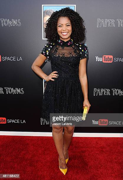 Actress Jaz Sinclair attends the Paper Towns QA and live concert at YouTube Space LA on July 17 2015 in Los Angeles California