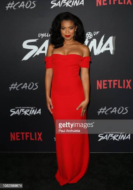 Actress Jaz Sinclair attends the premiere of Netflix's Chilling Adventures Of Sabrina at the Hollywood Athletic Club on October 19 2018 in Hollywood...