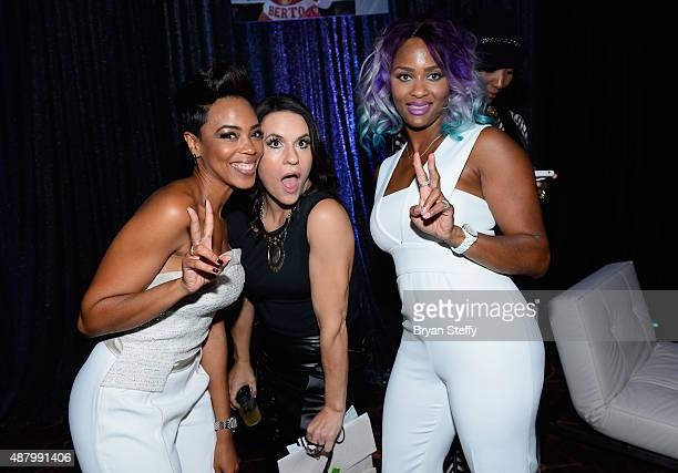 Actress Jazmyn Simon and former Arizona Cardinals training camp/preseason intern linebackers coach Jen Welter arrive at the VIP PreFight Party for...