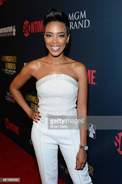 Actress Jazmyn Simon arrives at the VIP PreFight Party for 'High Stakes Mayweather v Berto' presented by Showtime at MGM Grand Garden Arena on...