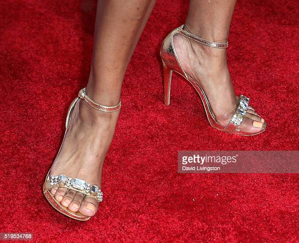 Actress Jazsmin Lewis shoe detail attends the premiere of New Line Cinema's Barbershop The Next Cut at the TCL Chinese Theatre on April 6 2016 in...