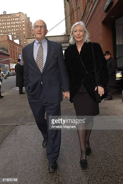 Actress Jean Alexander and her husband attend the funeral for Jerry Orbach at Riverside Chapel December 31 2004 in New York City