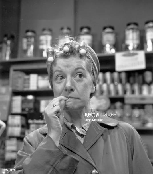 Actress Jean Alexander looking bemused as Hilda Ogden in the longrunning television soap opera 'Coronation Street'