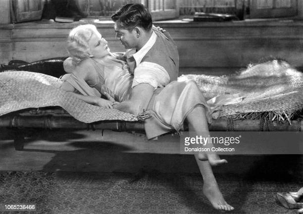 Actress Jean Harlow and Clark Gable in a scene from the movie Red Dust