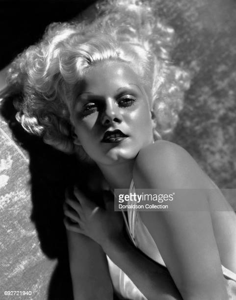 Actress Jean Harlow poses for a publicity still for the MGM film 'Bombshell' in 1933 in Los Angeles California
