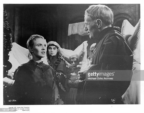 "Actress Jean Seberg and actor Richard Widmark on set of the United Artist movie""Saint Joan"" in 1957."