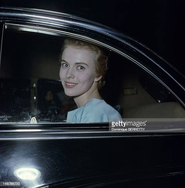 Actress Jean Seberg arrives at the Restaurant Maxim's party after the presentation of Otto Preminger's movie 'Saint Joan' based on French historic...