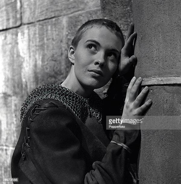 "Actress Jean Seberg in praying pose during the making of the religious film ""Saint Joan"" at Shepperton Studios, 1957"