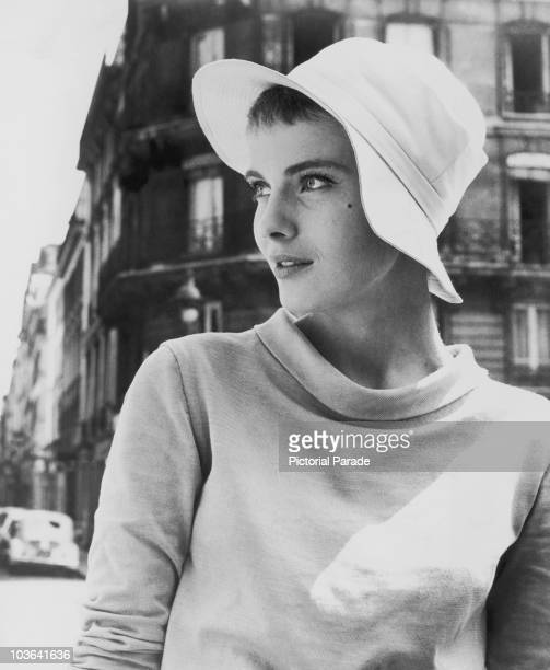 Actress Jean Seberg pictured wearing a hat and looking to the left of the image, USA, circa 1960.