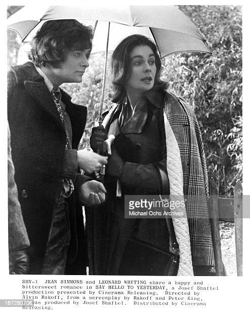 Actress Jean Simmons and actor Leonard Whiting on set of the Cinerama movie Say Hello to Yesterday in 1971