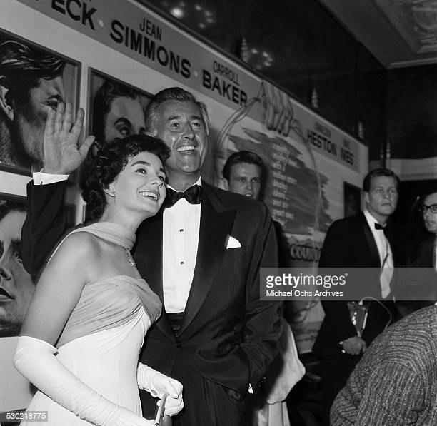 Actress Jean Simmons and husband actor Stewart Granger attend the premiere of The Big Country in Los AngelesCA