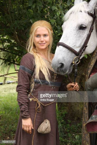 Actress Jeanette Biedermann poses for the press during a photocall for the historical drama TV production 'Isenhart' on June 24 2010 in Berlin Germany
