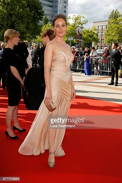 Actress Jeanette Hain arrives for the German Film Award 2015 Lola at Messe Berlin on June 19 2015 in Berlin Germany