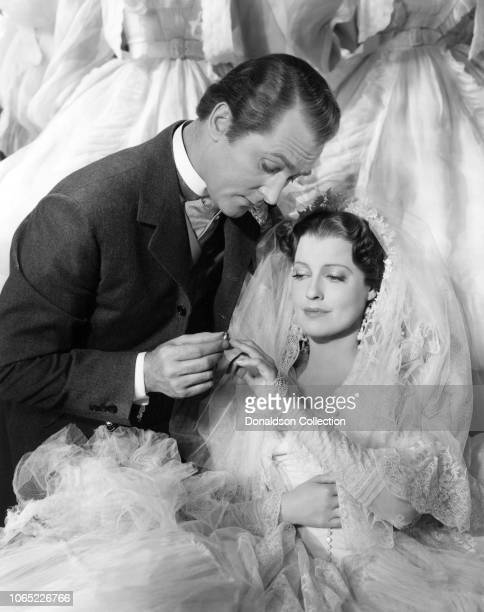Actress Jeanette MacDonald and Brian Aherne in a scene from the movie Smilin' Through