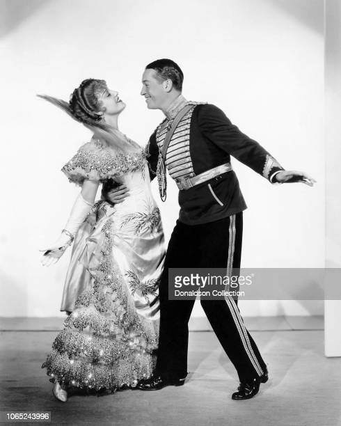 Actress Jeanette MacDonald and Maurice Chevalier in a scene from the movie The Merry Widow
