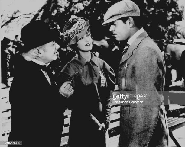 Actress Jeanette MacDonald Clark Gable and Al Shean in a scene from the movie San Francisco