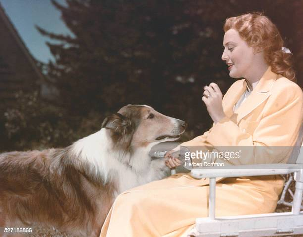 Actress Jeanette MacDonald portrays widow Helen Lorfield Winter in the 1949 motion picture The Sun Comes Up Performing dog Lassie also stars in this...
