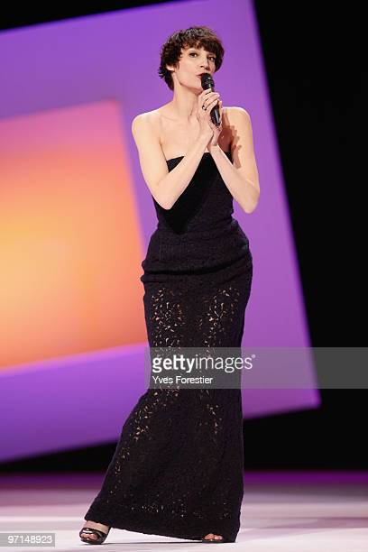 Actress Jeanne Balibar performs on stage during the 35th Cesar Film Awards at the Theatre du Chatelet on February 27 2010 in Paris France