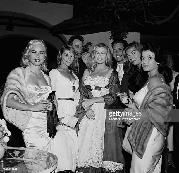 Actress Jeanne Carmen Vikkie Dugan Lance FullerActress Anita Ekberg and husband Anthony Steel with Joan Tyler and Joan Bradshaw attend a party in Los...