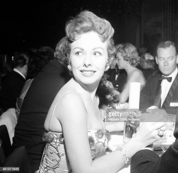 Actress Jeanne Crain at dinner at Mocambo's in Los Angeles California