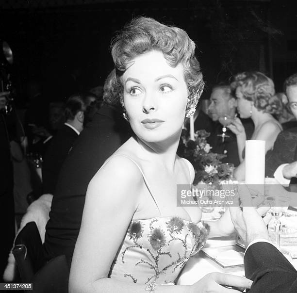 Actress Jeanne Crain at dinner at Mocambo's in Los Angeles, California.