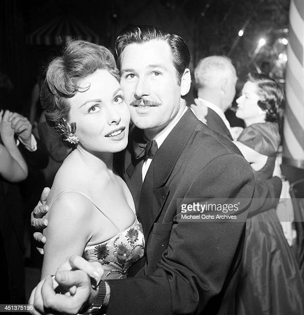 Actress Jeanne Crain dances with her husband Paul Brinkman at dinner at Mocambo's in Los Angeles, California.