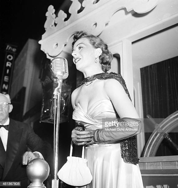 Actress Jeanne Crain talks to the fans at the premiere of Show boat in Los Angeles California