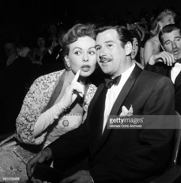 """Actress Jeanne Crain with her husband Paul Brinkman attends the premiere """"High and Mighty"""" in Los Angeles, California."""