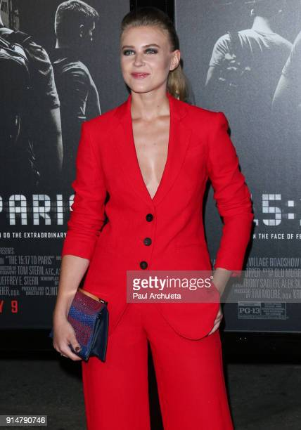Actress Jeanne Goursaud attends the premiere of The 1517 To Paris at Warner Bros Studios on February 5 2018 in Burbank California