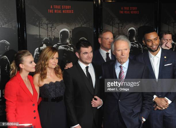 Actress Jeanne Goursaud Jenna Fischer Alek Skarlatos Spencer Stone Clint Eastwood and Anthony Sadler arrive for the Premiere Of Warner Bros Pictures'...