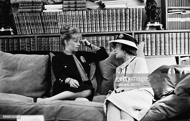 Actress Jeanne Moreau with French fashion icon Coco Chanel at rue Cambon in Paris France in 1960
