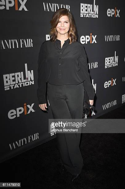 "Actress Jeanne Tripplehorn attends EPIX ""Berlin Station"" LA premiere at Milk Studios on September 29, 2016 in Los Angeles, California."