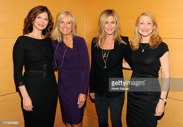 Actress Jeanne Tripplehorn, Dr. Jill Biden, Executive Producer and Director Jennifer Aniston and actress Patricia Clarkson attend the red carpet...