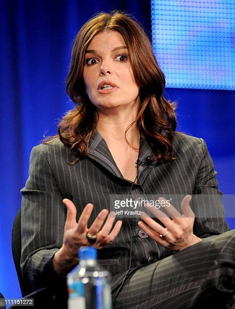 Actress Jeanne Tripplehorn speaks during HBO's 2009 Winter Television Critics Association Press Tour held at the Universal Hilton Hotel on January 9,...