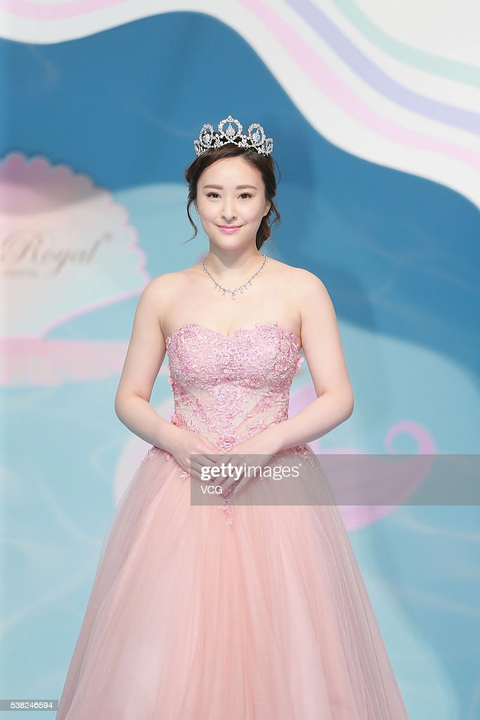 Actress Jeannie Chan Showcases Wedding Dress During The Hong Kong Fair On June 4