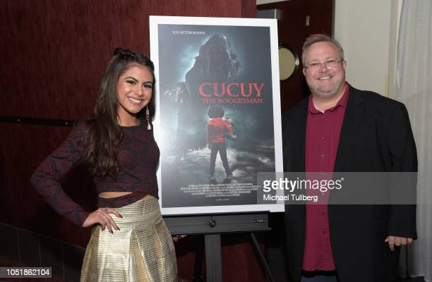 Actress Jearnest Corchado and director Peter Sullivan attend a screening of SyFy's Cucuy The Boogeyman at ArcLight Sherman Oaks on October 10 2018 in...