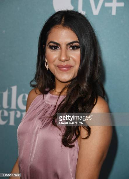 US actress Jearnest Corchado arrives for the premiere of Apple TV's Little America series at the Pacific Design Center in West Hollywood California...