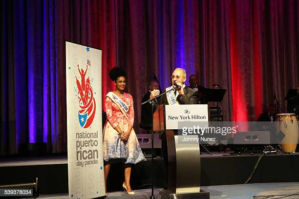 Actress Jeimy Osorio and musician Emilio Estefan appear onstage at the 2016 NPRDP Scholarship Fundraiser Gala at New York Hilton Midtown on June 10...