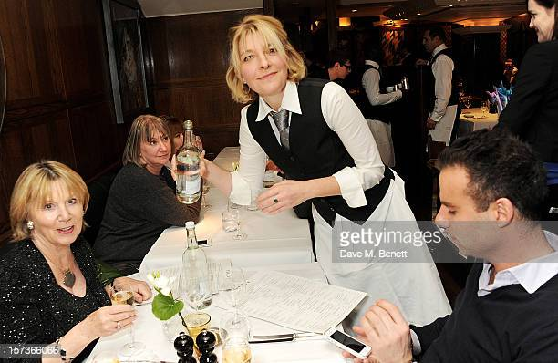 Actress Jemma Redgrave working as a waitress attends One Night Only at The Ivy featuring 30 stage and screen actors working as staff during dinner at...